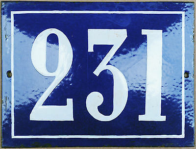 Large old French house number 231 door gate plate plaque enamel steel metal sign