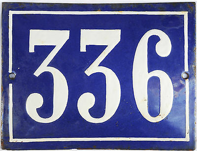 Large old French house number 336 door gate plate plaque enamel steel metal sign