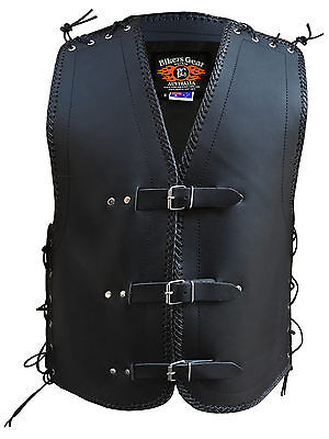 Mens Motorcycle Club Buckle Vest 3Mm Thick Cowhide Leather Black Braiding