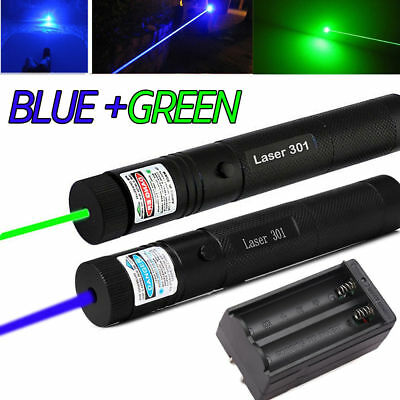 Military High Power Green+Blue Laser Pointer Pen 1mW 50Miles Beam Light+Charger