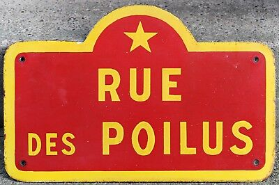 Od French enamel steel street sign road plaque plate Avenue Marechaux de France