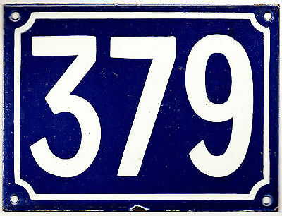 Large old blue French house number 379 door gate plate plaque enamel metal sign