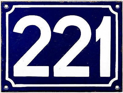 Large old blue French house number 221 door gate plate plaque enamel metal sign