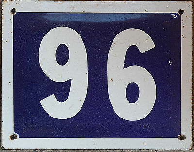 Large French house number 96 door gate plate plaque enamel steel metal sign