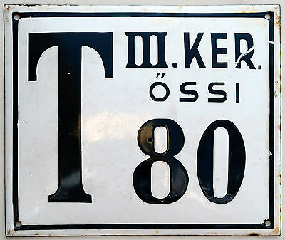 Large old Hungarian house number 80 door gate plate plaque enamel metal sign