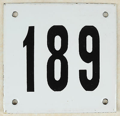 Old white French house number 189 door gate plate plaque enamel steel metal sign