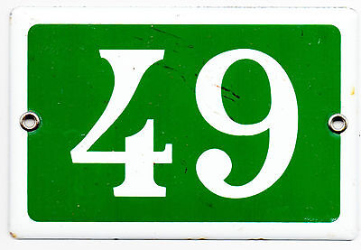 Green French house number 49 door gate plate plaque enamel steel metal sign