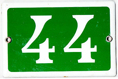 Green French house number 44 door gate plate plaque enamel steel metal sign