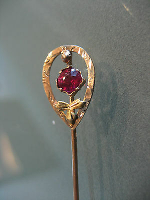 Antique / Vintage 10 K Yellow Gold With Ruby Gemstone Stick Pin