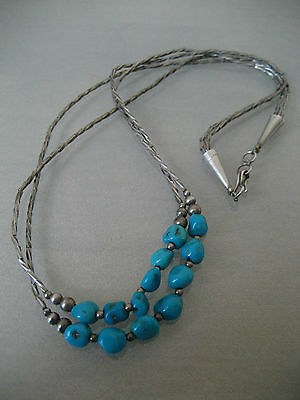 Vintage Native American  Liquid Sterling Silver & Turquoise Dbl Strand Necklace
