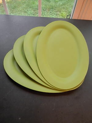 Tupperware 4pc Plates Set Oval Textured to Hide Scratches - Rare Basil Green New