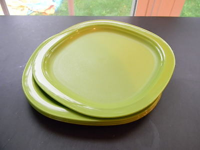 """Tupperware 4pc Plates Set 8"""" Textured to Hide Scratches - Rare Basil Green New"""