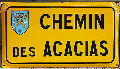 Old French enamel steel street sign plaque Chemin des Acacias Saint Etienne