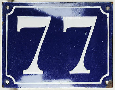 Old large blue French house number 77 door gate plaque enamel steel metal sign