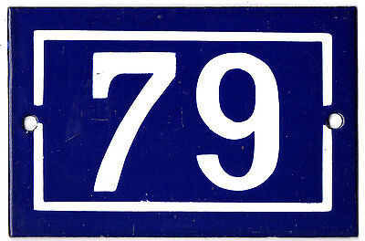 Old blue French house number 79 door gate plate plaque enamel steel metal sign