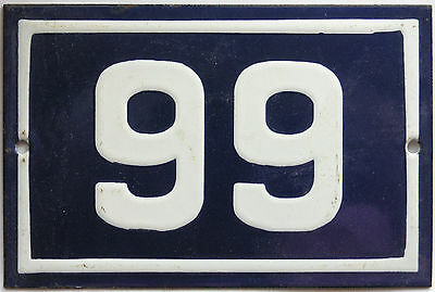 Old blue French house number 99 door gate plate plaque enamel steel metal sign