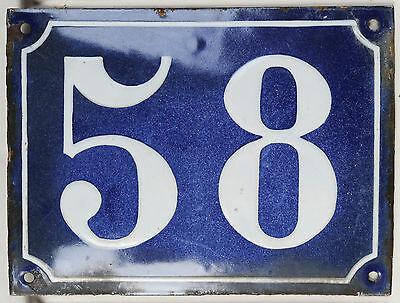 Old large blue French house number 58 door gate plaque enamel steel metal sign