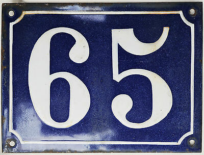 Old large blue French house number 65 door gate plaque enamel steel metal sign