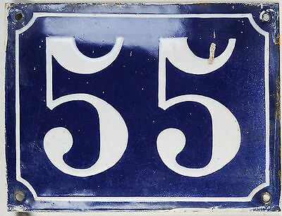 Old large blue French house number 55 door gate plaque enamel steel metal sign