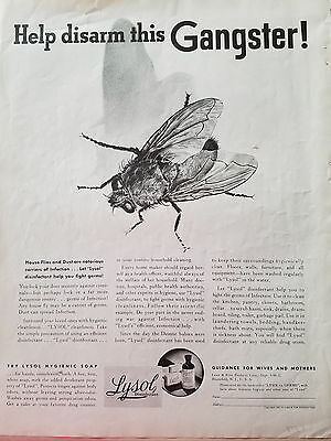 1937 Lysol Disinfectant House Flies Fly Dust Disarm this Gangster Original Ad