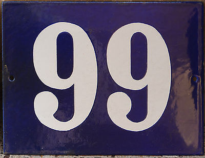 Old blue French house number 66 99 gate plate plaque enamel steel metal sign