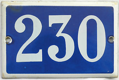 Old blue French house number 230 door gate plate plaque enamel steel metal sign