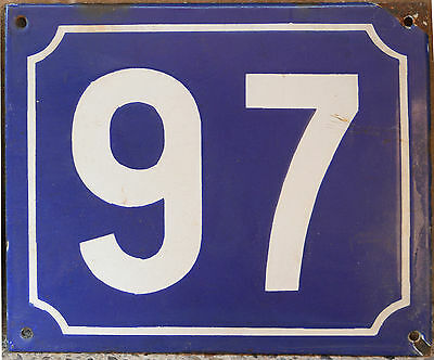 Large French house number 97 door gate plate plaque enamel steel metal sign