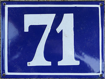 Large old blue French house number 71 door gate plate plaque enamel metal sign