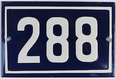 Old blue French house number 288 door gate plate plaque enamel steel metal sign
