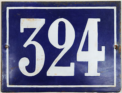 Large old French house number 324 door gate plate plaque enamel steel metal sign