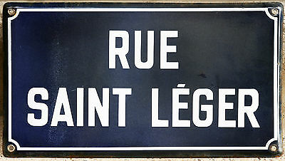 Old French enamel steel street sign road plaque name Rue Saint Leger in Paris