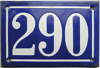 Old blue French house number 290 door gate plate plaque enamel steel metal sign