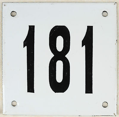 Old white French house number 181 door gate plate plaque enamel steel metal sign