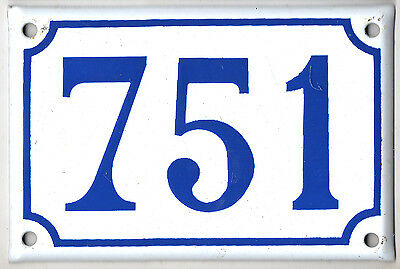 Old blue French house number 751 door gate plate plaque enamel steel metal sign