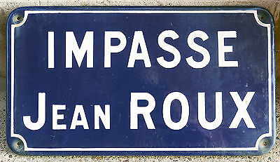 French enamel steel street sign road plaque vintage Impasse Jean Roux Chartres