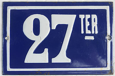 Old blue French house number 27 TER door gate plate plaque enamel metal sign