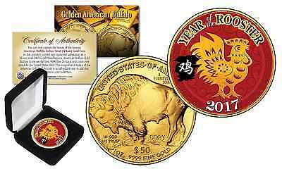 2017 Chinese YEAR OF THE ROOSTER 24K Gold Clad $50 American Buffalo Tribute Coin