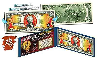 2017 Chinese New Year US $2 Bill YEAR OF THE ROOSTER Gold Hologram BLUE (10 LOT)