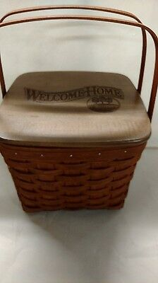 Longaberger Buzz Award Picnic Tote basket with engraved lid, rich brown, mint!