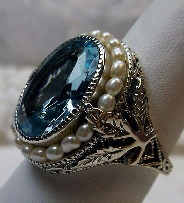 *Aquamarine* & Seed Pearl Sterling Silver Leaf Victorian Filigree Ring Size 11