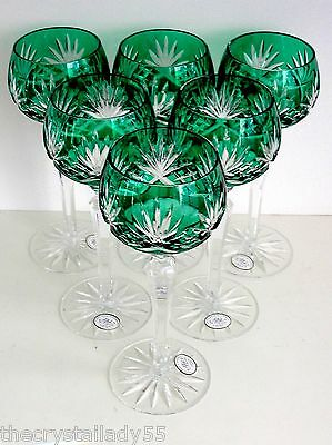 AJKA CAROLYNE  EMERALD GREEN  CASED CUT TO CLEAR CRYSTAL WINE GOBLETS Set of 6