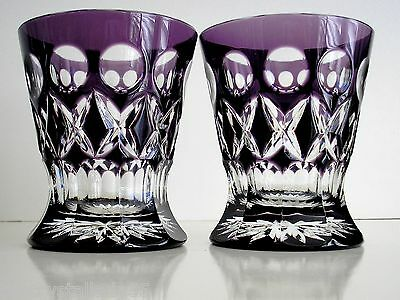 AJKA NA ZDOROVYA AMETHYST CASED CUT TO CLEAR WHISKEY SCOTCH DOF Set of 2