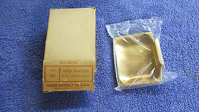Vintage NOS Goldtone Soap Holder Seafoam Made in USA Sealed