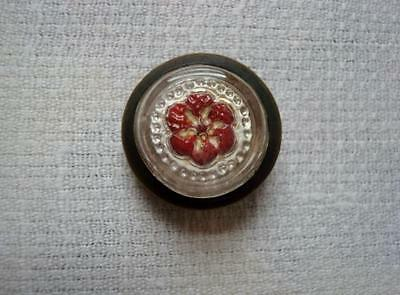 Vintage Victorian Picture Nail Top Only Sulfide Glass Red Flower 3/4 In.