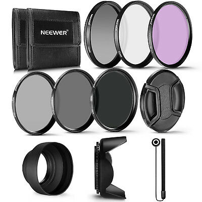 Neewer 72mm Lens Filter Kit ND2 ND4 ND8 UV CPL FLD Accessory Kit for Canon