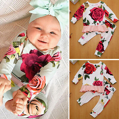 2pcs Newborn Infant Baby Girls Clothes T-shirt Top + Pants Leggings Outfits Set