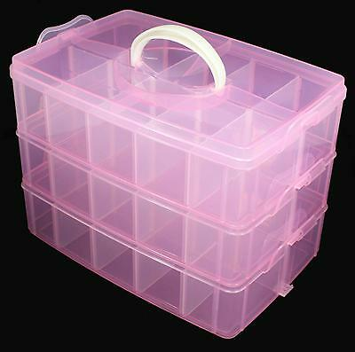 Multi Empty Plastic 3-layer Storage Box Case Nail Art Craft Makeup Random Color