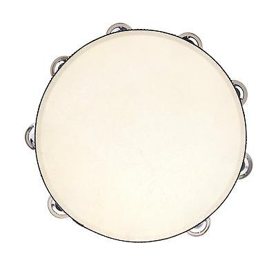 "10"" Hand Held Tambourine Drum Bell Birch Metal Jingles Percussion Toy C1A6"