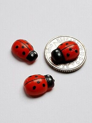 3 LADYBUG ladybird Mini Fairy Garden Micro Dolls House Bonsai Landscape Ornament