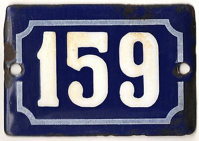 Cute old blue French house number 159 door gate plate plaque enamel metal sign